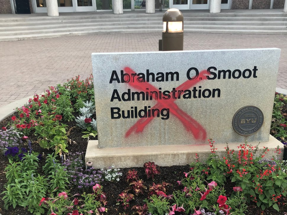 (Photo courtesy of BYU Police) Pictured is sign to the Abraham O. Smoot Administration Building on the campus at Brigham Young University that was painted with an