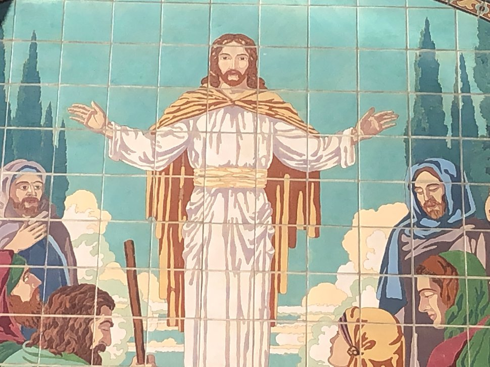 (Photo courtesy of Allen Roberts) A mosaic of Jesus on the exterior of the Latter-day Saint University Ward building, facing University Avenue in Salt Lake City.