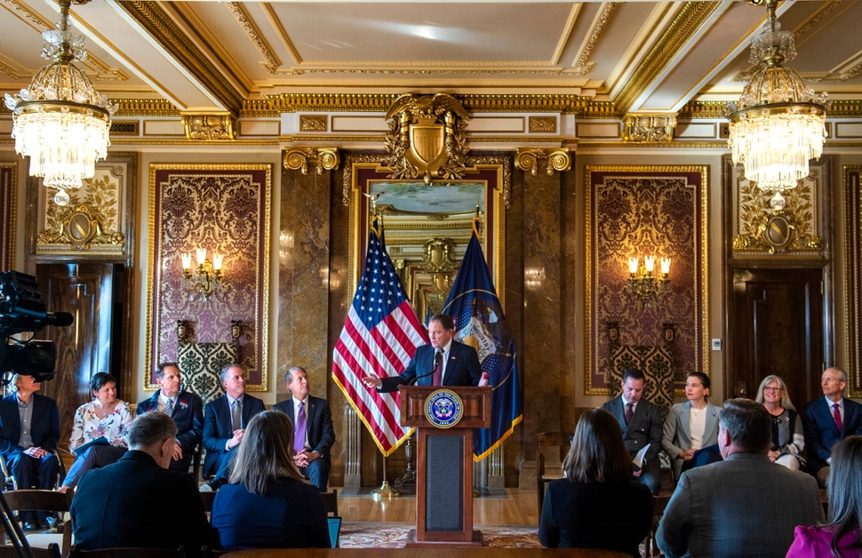 (Rick Egan | The Salt Lake Tribune) Gov. Gary Herbert says a few words, during a news conference announcing Utah's next steps towards an Olympic and Paralympic Winter Games, at the Utah State Capitol, Wednesday, Feb. 12, 2020.