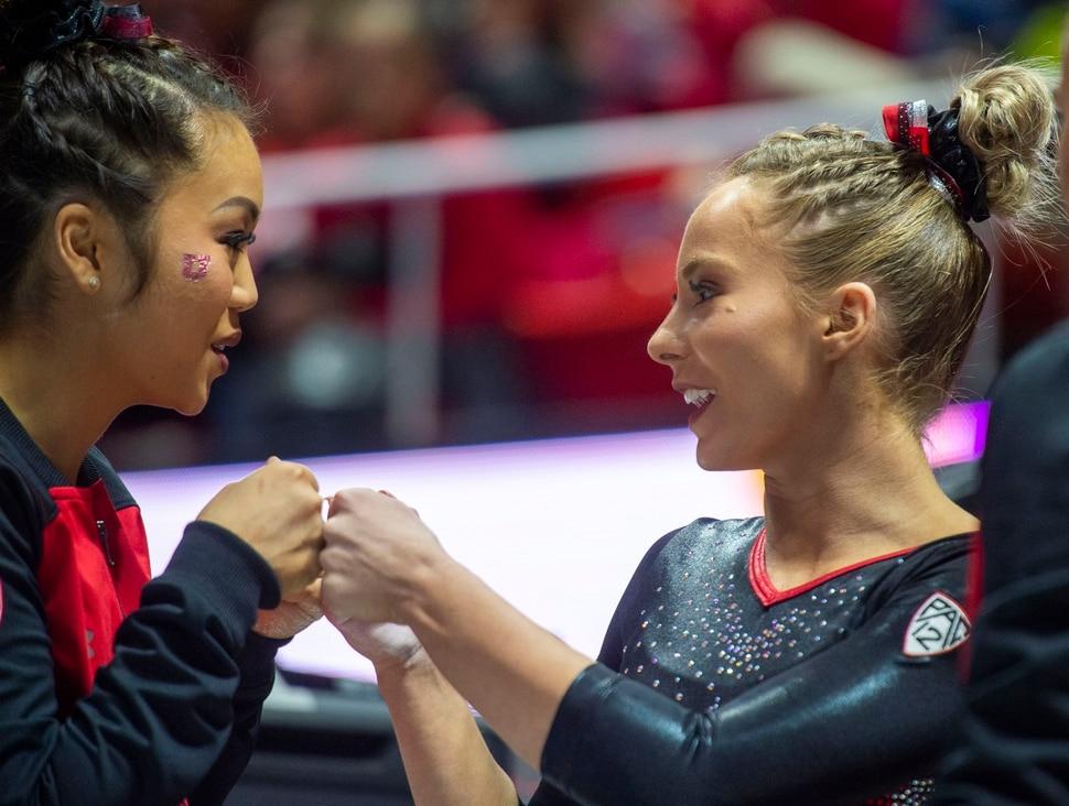 (Rick Egan | The Salt Lake Tribune) Kari Lee gives MyKayla Skinner a fist-bump before Skinner's performance on the floor, in Gymnastics action at the Jon M. Huntsman Center, Saturday, March 2, 2019.