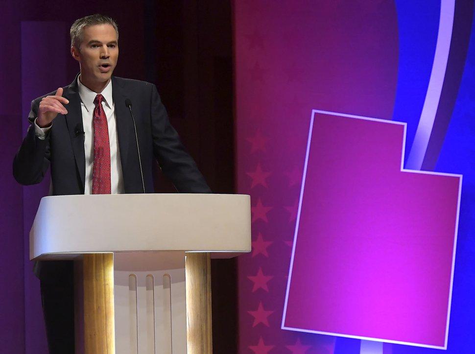 Eric Eliason (United Utah Party) speaks as he takes part in UtahÕs 1st Congressional District Debate, on Wednesday, Oct. 17, 2018, at Utah State University in Logan.