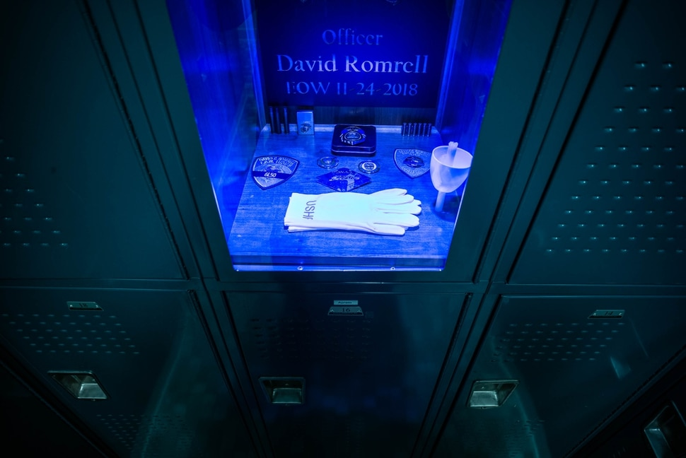 (Trent Nelson | The Salt Lake Tribune) Officer Romrell's locker, memorialized in the David P. Romrell Public Safety Building in South Salt Lake on Sunday Nov. 24, 2019. The building is named after Officer Romrell, who was killed in the line of duty on Nov. 24, 2018 - one year ago.