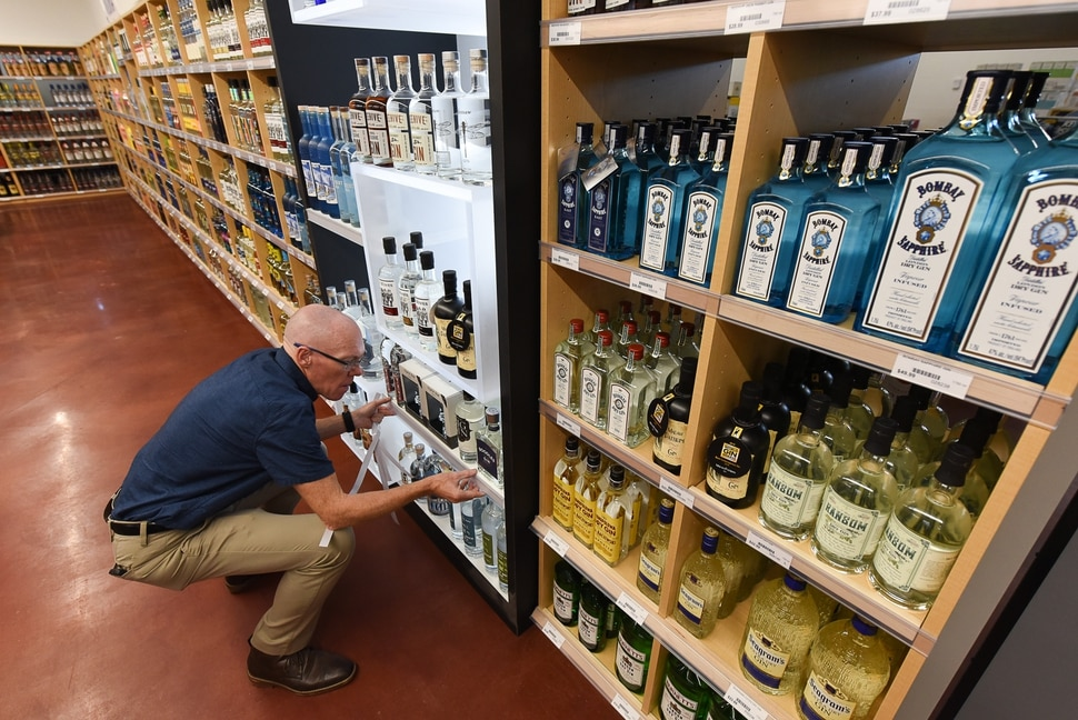 (Francisco Kjolseth | The Salt Lake Tribune) Mark Pendleton, assistant manager for Utah's newest liquor store in Herriman, prepares for their opening at 11 a.m. on Friday, Aug. 30, 2019.