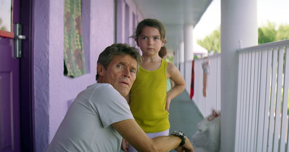 This image released by A24 shows Willem Dafoe, left, and Brooklynn Prince in a scene from The Florida Project. (A24 via AP)