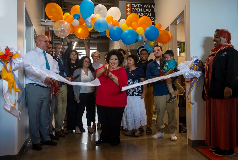 (Rick Egan | The Salt Lake Tribune) Idolina Quijada, chairwoman of Salt Lake Community College Undocumented Student Resource Committee, says a few words at the ribbon cutting for the new Salt Lake Community College Dream Center in West Valley City, on Friday, Aug. 2, 2019.