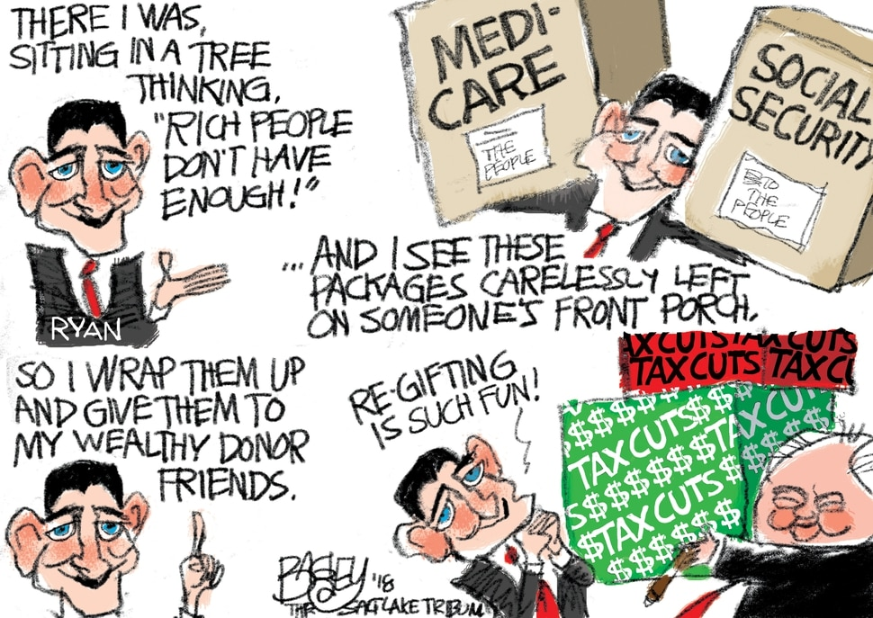 (Pat Bagley | The Salt Lake Tribune) This Pat Bagley cartoon titled Gift of the MAGA appears in The Salt Lake Tribune on Thursday, Dec. 20, 2018.