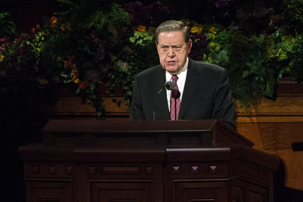 (Tribune file photo) Jeffrey R. Holland, Quorum of the Twelve Apostles, speaks during the afternoon session of the 184th Semiannual General Conference of The Church of Jesus Christ of Latter-day Saints at the Conference Center in Salt Lake City on Saturday Oct. 4, 2014. In his sermon, her urged members to look for ways to help the poor.