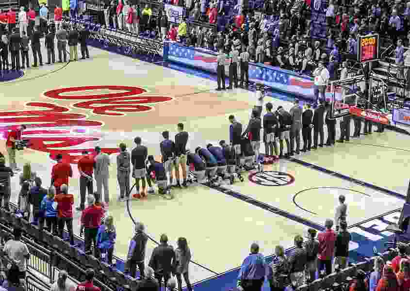 Ole Miss basketball players kneel during anthem in response to Confederacy rally near arena