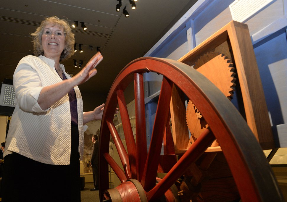 Al Hartmann   The Salt Lake Tribune Maryanne Andrus, exhibit program manager at the Church History Museum demonstrates the