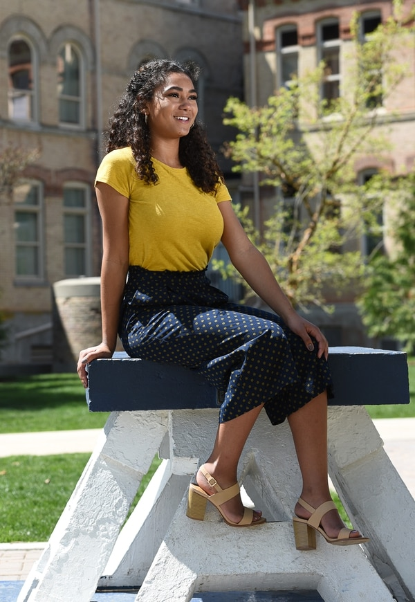(Francisco Kjolseth | The Salt Lake Tribune) Alexis Cooper, a junior at Utah State University, was named Miss USU on Tuesday, April 17, in a beauty pageant. Recently, Cooper re-created the pose held by her grandmother Irene Heywood in the 1940s on the historic block