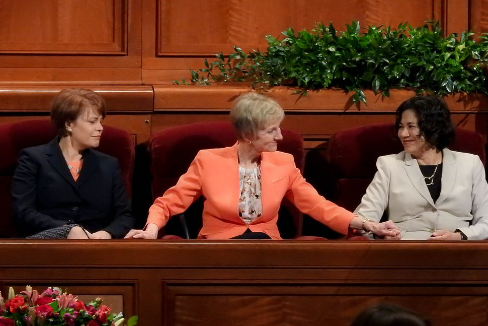 (Trent Nelson | The Salt Lake Tribune) Relief Society General President Jean B. Bingham, center, with her counselors, Sharon Eubank and Reyna I. Aburto, at the General Women's Session of the 187th Semiannual General Conference of the The Church of Jesus Christ of Latter-day Saints, in Salt Lake City, Saturday, Sept. 23, 2017.