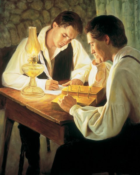 Joseph Smith dictating off gold tablets to a scribe