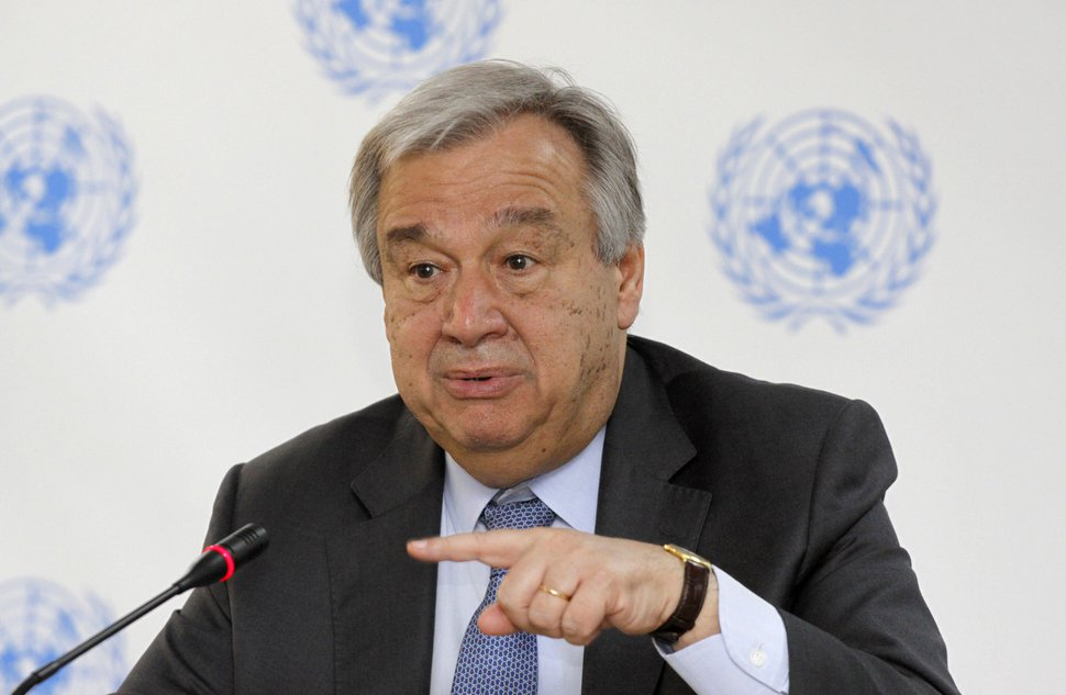 FILE - In this March 8, 2017 file photo, U.N. Secretary-General Antonio Guterres speaks during a press conference at the U.N. in Nairobi, Kenya. The United Nations said Tuesday, May 1, 2018, it received 54 allegations of sexual abuse and exploitation in the first three months of 2018 involving the entire U.N. system and non-governmental groups implementing U.N. programs. U.N. deputy spokesman Farhan Haq told reporters Tuesday that