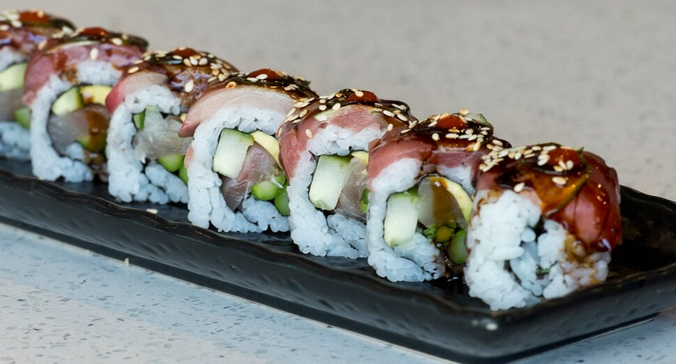 (Rick Egan | The Salt Lake Tribune) The Tequila Roll, at Hamachi Pescatarian Grill and Sushi, 488 E 100 South, Salt Lake City, Monday, June 4, 2018.