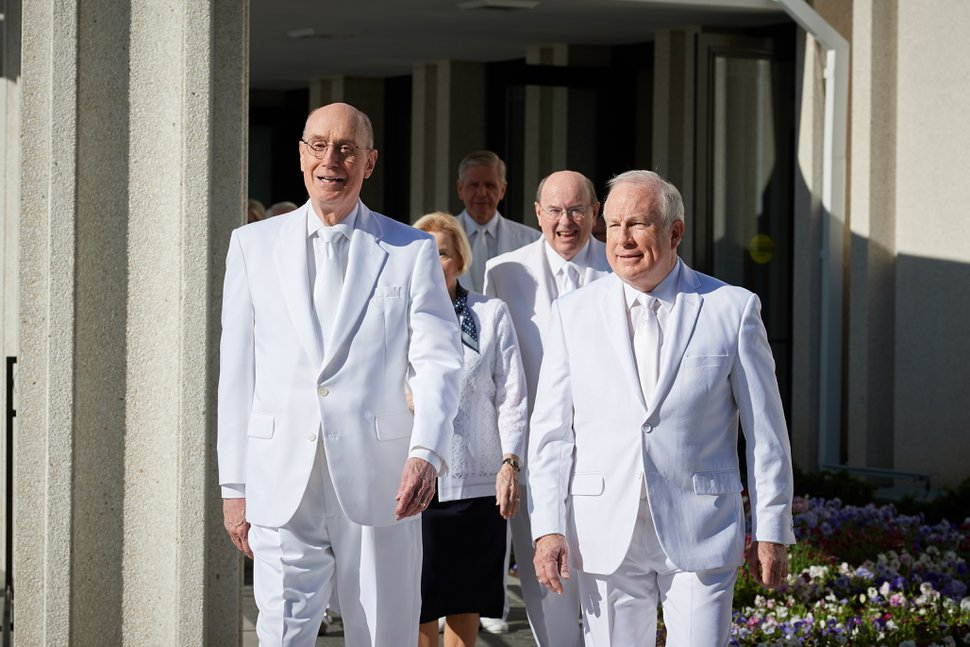 (Courtesy LDS Church) President Henry B. Eyring, second counselor in the First Presidency of The Church of Jesus Christ of Latter-day Saints, and Elder Timothy J. Dyches of the Seventy lead Mormon leaders to the rededication of the Jordan River Temple on Sunday, May 20, 2018.