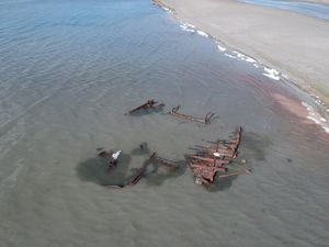 (Photo courtesy Utah State Parks) Utah State Parks says a recent storm exposed this shipwreck on the Great Salt Lake. It is a steel boat that probably dates back to the turn of the 20th century, according to a post from Utah State Parks.