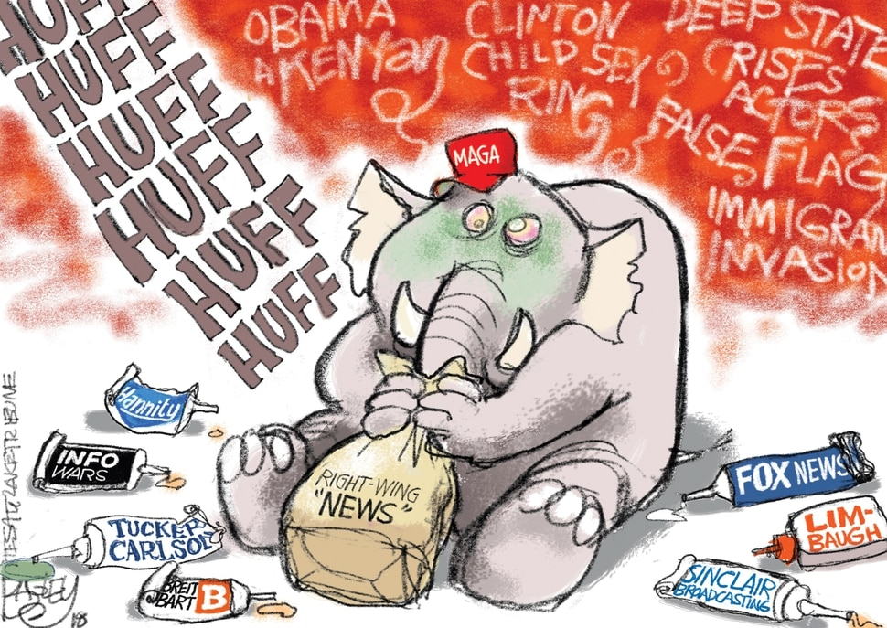 "(Pat Bagley | The Salt Lake Tribune) This cartoon by Pat Bagley titled ""Glued to the News"" appears in the Wednesday, Nov. 7, 2018, edition of The Salt Lake Tribune."