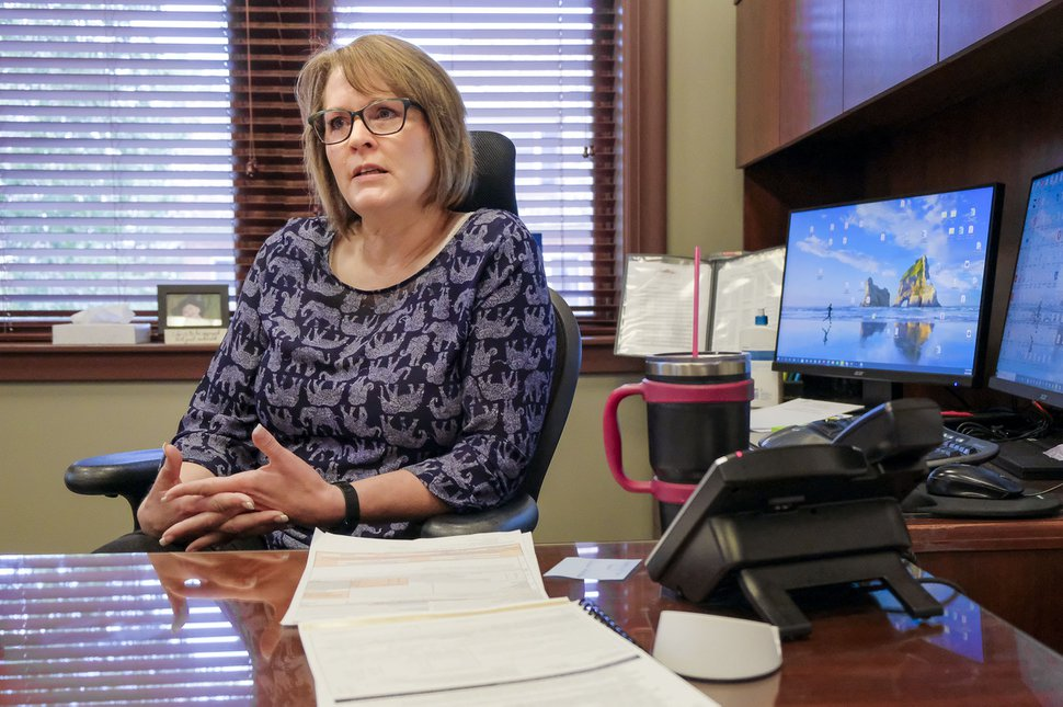 (Leah Hogsten | The Salt Lake Tribune) Garfield County Clerk Camille Moore in her office at the county courthouse, August, 26, 2020. Moore has served as county clerk since 1995.