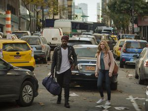 "(Photo courtesy of CBS) Jovan Adepo as Larry Underwood and Heather Graham as Rita Blakemoor in ""The Stand."""