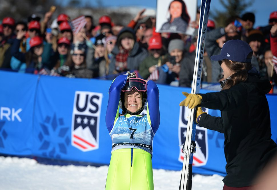 (Scott Sommerdorf | The Salt Lake Tribune) Sarah Hendrickson reacts after winning the Ladies Ski Jumping Olympic Trials at Park City, Sunday, December 31, 2017.