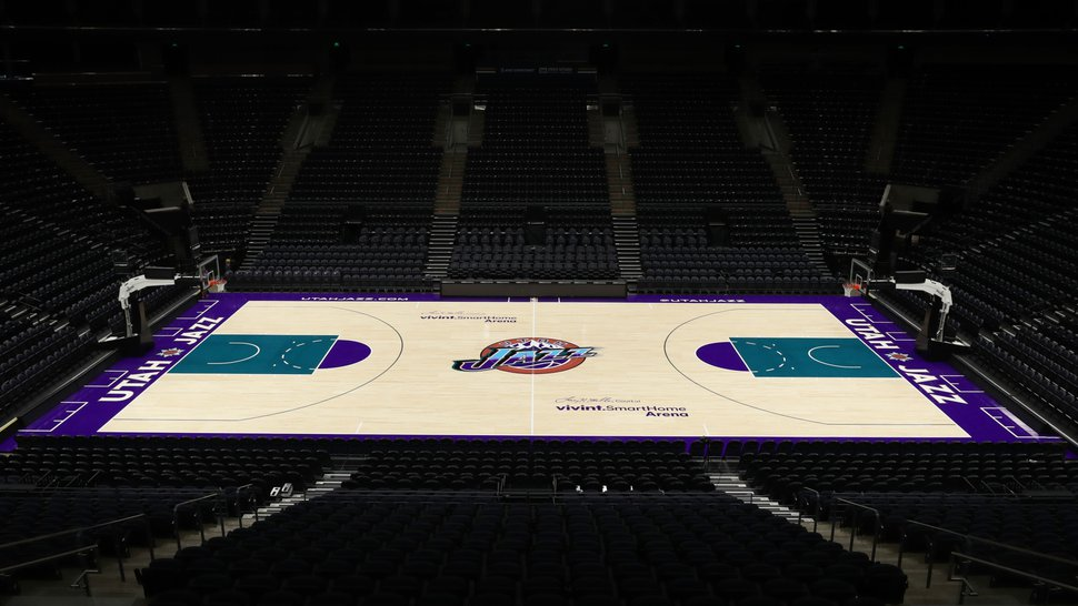 (Courtesy of Utah Jazz) Along with the return of the purple mountain jerseys the Jazz wore between 1996-2004 will be an accompanying court design. Vivint Smart Home Arena will feature this court during 11 games this season. Fans can get a first look at a free event to be held Saturday, Oct. 19.