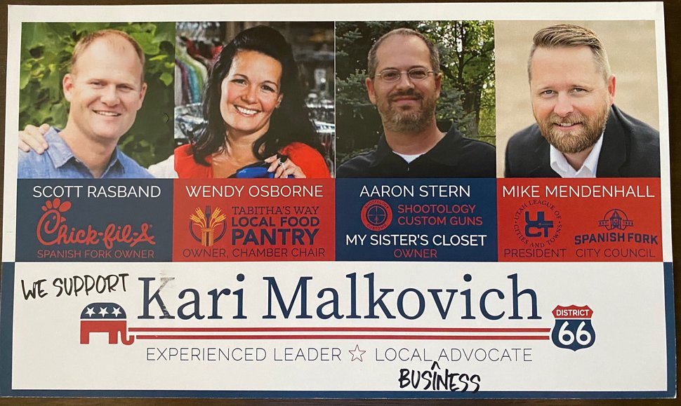(Courtesy photo) Picture of a flyer with endorsements for legislative candidate Kari Malkovich. Spanish Fork says it improperly used a city logo, and Mike Mendenhall says he did not OK being included as an endorser.