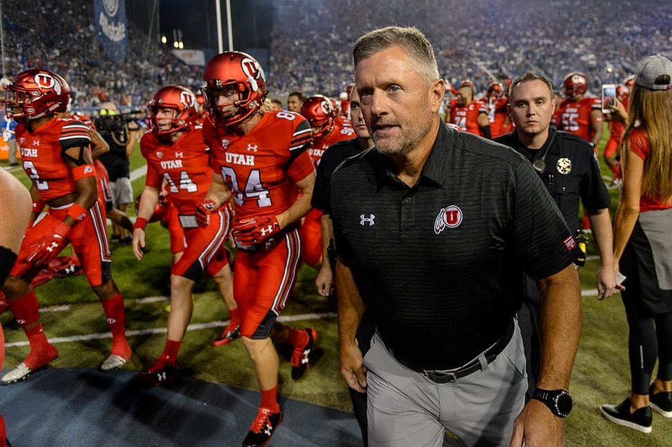 (Trent Nelson | The Salt Lake Tribune) Utah Utes head coach Kyle Whittingham heads to the locker room with his team before the game as BYU hosts Utah, NCAA football in Provo, Saturday September 9, 2017.