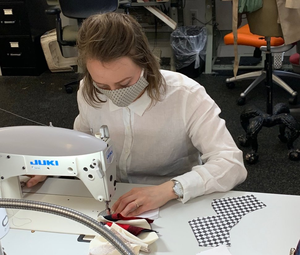 (Photo courtesy of Utah Opera) Amanda Meyer, wardrobe supervisor for Utah Opera's costume shop, sews fabric into a face mask. Six employees of the shop have made more than 400 cloth masks, which have been donated to Salt Lake Regional Medical Center.
