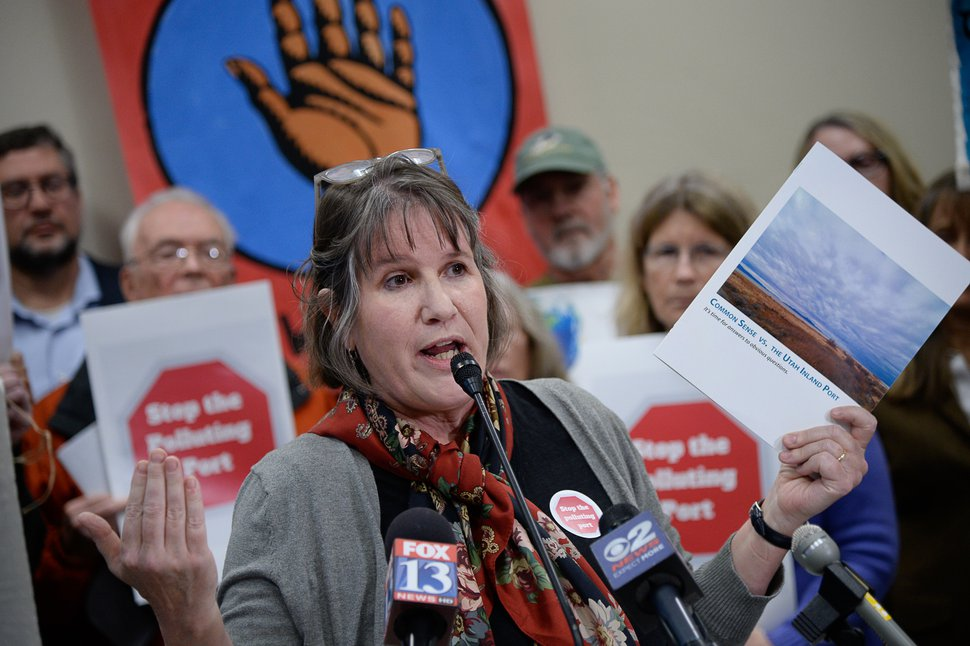 (Francisco Kjolseth | Tribune file photo) Deeda Seed of Stop the Polluting Port Coalition holds up a report being released outlining the potential environmental harms from the proposed Utah Inland Port during a news conference at the Utah Capitol, Jan. 22, 2020.