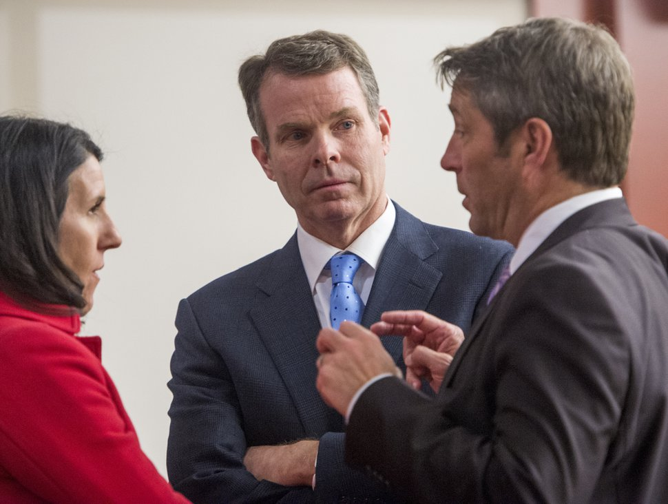 Rick Egan | The Salt Lake Tribune John Swallow listens as Cara Tangaro and Scott Williams discuss how to correct an error in the jury instructions, in Judge Elizabeth Hruby-Mills courtroom in Salt Lake City, Thursday, March 2, 2017.