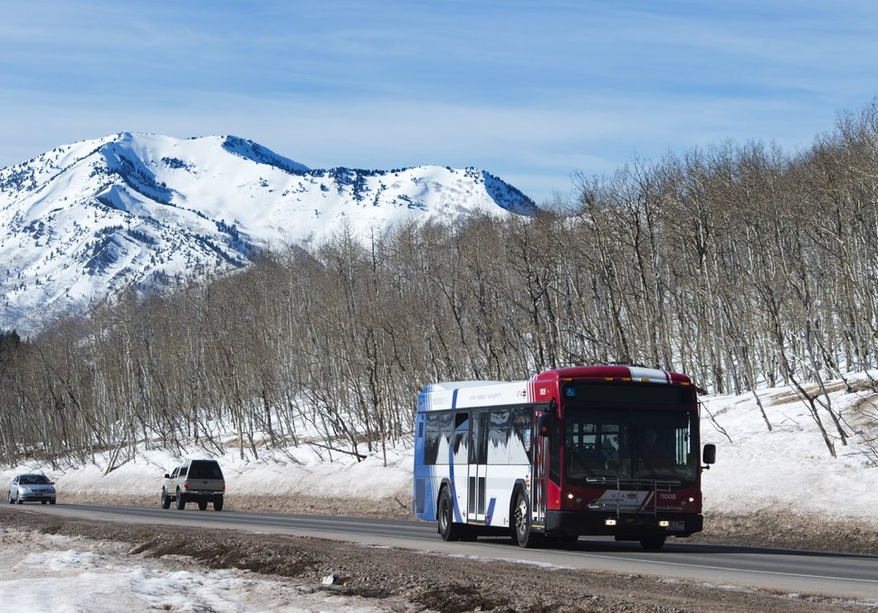 (Rick Egan | Tribune file photo) A UTA Ski bus heads down Big Cottonwood Canyon, March 13, 2017.