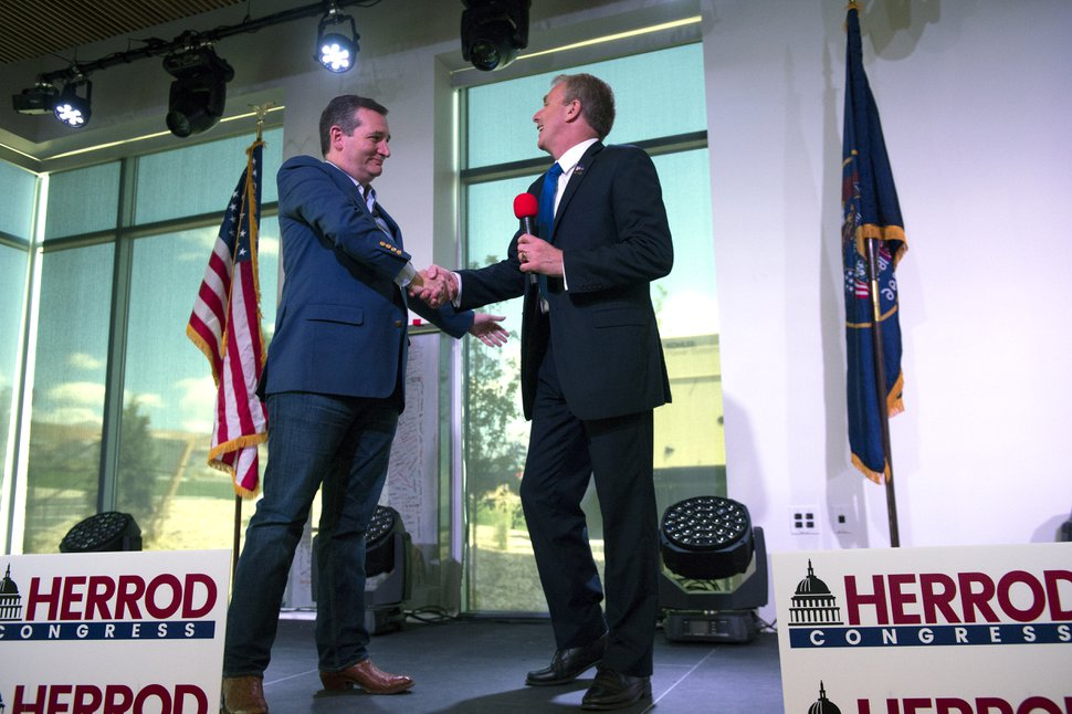 Leah Hogsten | The Salt Lake Tribune Republican Sen. Ted Cruz of Texas rallies for 3rd District primary candidate, former state Rep. Chris Herrod, June 29, 2017 at Entrata in Lehi.