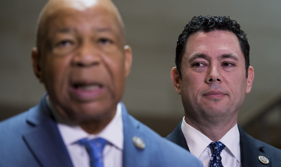 UNITED STATES - APRIL 25: House Oversight Chairman Jason Chaffetz, R-Utah, right, and ranking Democrat Elijah Cummings, D-Md., hold a press conference after a classified meeting of the committee in which they reviewed documents related to former national security adviser Michael Flynn in the Capitol on Tuesday, April 25, 2017. (Photo By Bill Clark/CQ Roll Call) (CQ Roll Call via AP Images)