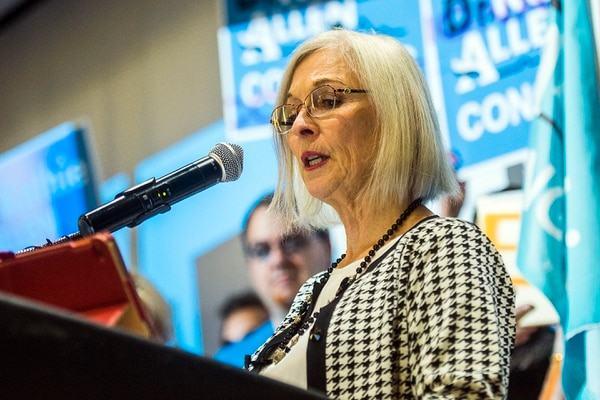 Chris Detrick | The Salt Lake Tribune Third congregational district candidate Dr. Kathie Allen speaks during the Utah State Democratic Party 2017 State Organizing Convention at Weber State University Shepard Union Saturday, June 17, 2017.