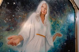 "(Francisco Kjolseth | The Salt Lake Tribune) ""Mother Divine,"" by Courtney Vander Veur Matz, is part of a new exhibit at Writ & Vision rare books and fine art store in Provo, titled ""Visions of Heavenly Mother"" on Tuesday, May 4, 2021."