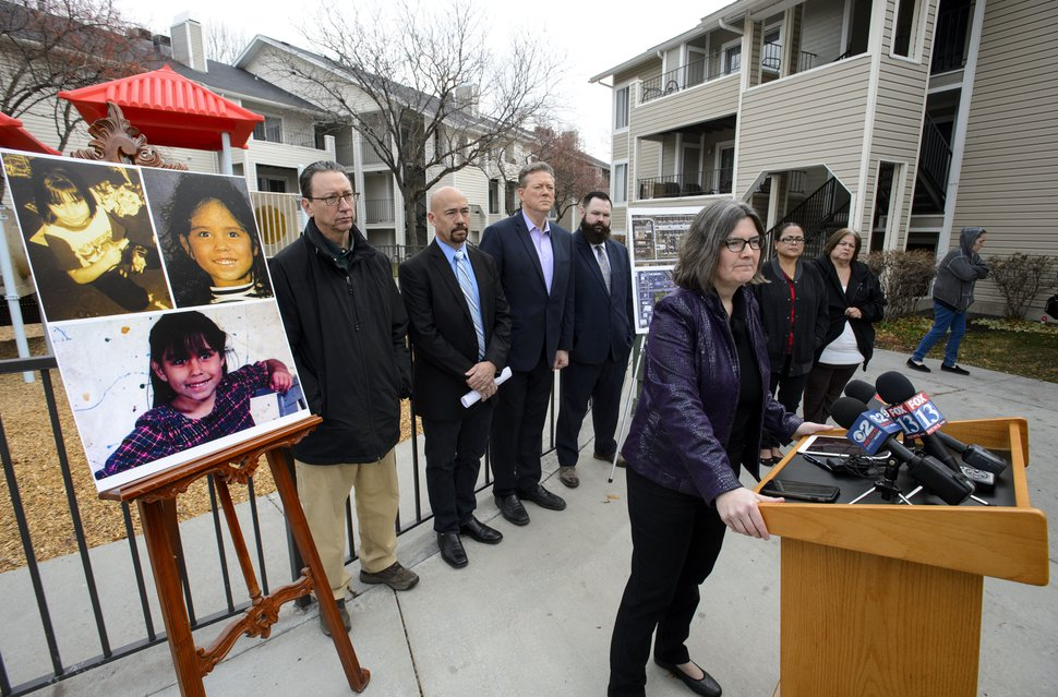 (Salt Lake Tribune file photo) At a 2017 news conference, attorney Karra Porter, a co-founder of the Utah Cold Case Coalition, asks the public for any information on the 1995 murder of 6-year-old Rosie Tapia.