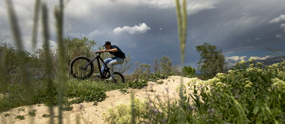 (Leah Hogsten | The Salt Lake Tribune) Hayden Winthorpe, 17, of Bluffdate rides his bike at the Draper Cycle Park, Tuesday, May 14, 2019.