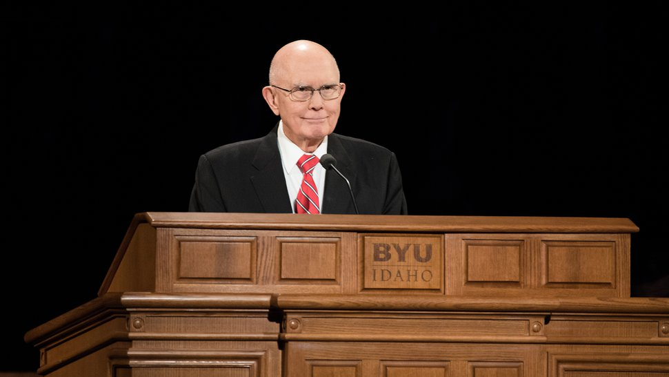 (Courtesy photo | The Salt Lake Tribune) President Dallin H. Oaks of the First Presidency speaks at a devotional Tuesday, Oct. 30, 2018, at Brigham Young University–Idaho.