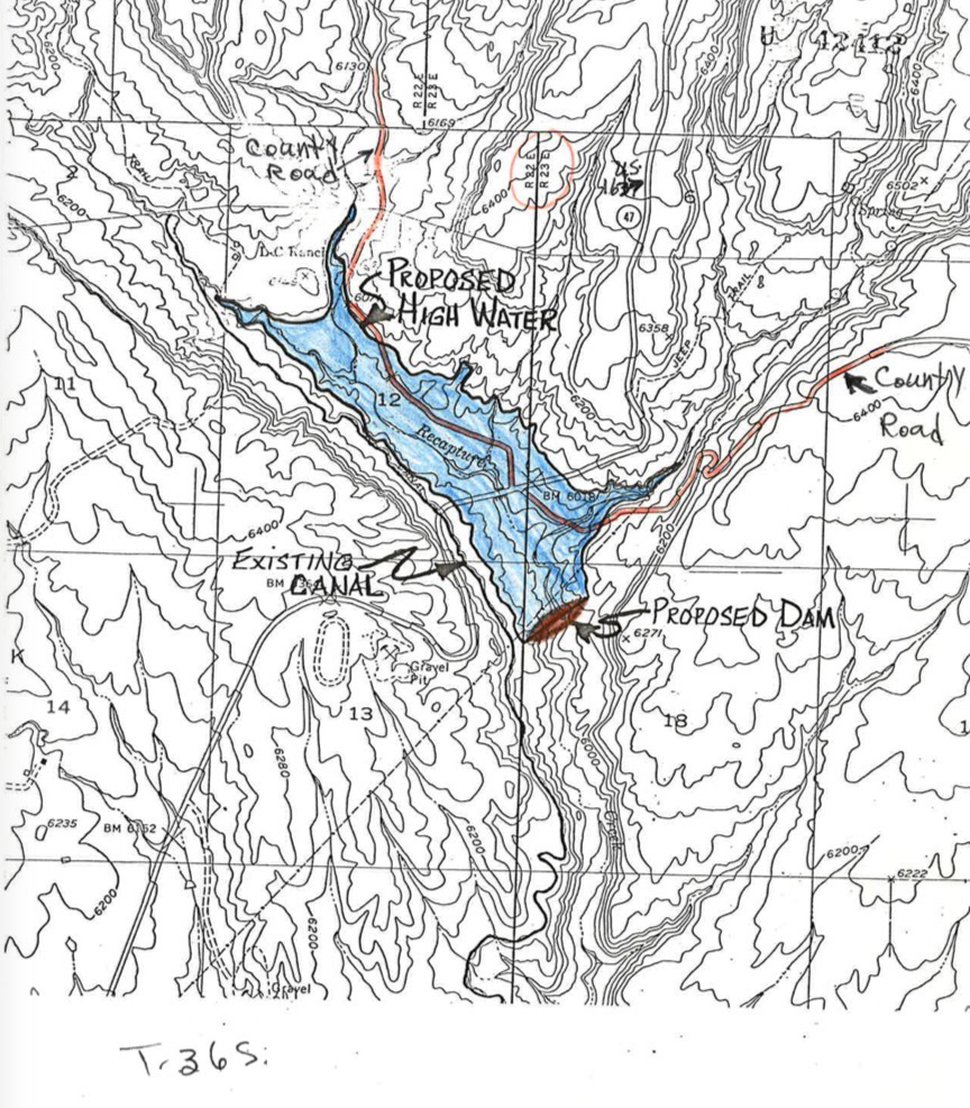 Topographic map included with a 1981 Bureau of Land Management document that shows county roads near Recapture Reservoir in San Juan County, Utah. An area closed to motorized vehicles by the BLM in 2007 begins downstream of the dam site where no county roads are depicted.