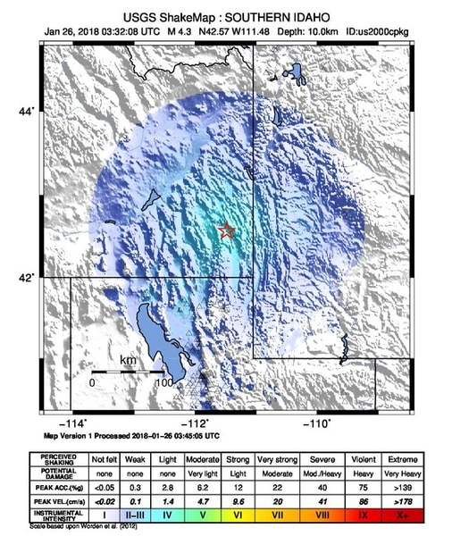 Earthquake shakes southern Idaho