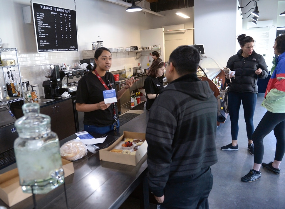 (Al Hartmann | The Salt Lake Tribune) The newly opened Maud's Cafe at 422 W. 900 S. in Salt Lake City. The cafe-coffee shop gives youth living at VOA's shelter a chance to gain work experience and a little money before taking on the world.
