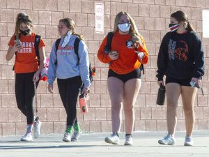 (Rick Egan | The Salt Lake Tribune) Murray High students leave school, on Tuesday, Nov. 24, 2020. Murray is one of 53 high schools in the state that has had a COVID-19 outbreak.