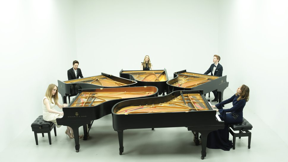 (Casey Welch | Courtesy of The 5 Browns) The Utah-raised piano quintet The 5 Browns — from left, Deondra, Gregory, Desirae, Ryan and Melody — are releasing their first album of holiday music,