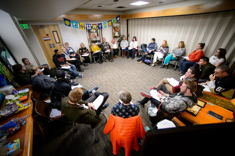 (Trent Nelson | The Salt Lake Tribune) Participants in a training session for the volunteer program No One Dies Alone at University of Utah Hospital in Salt Lake City, as seen in late January 2018.
