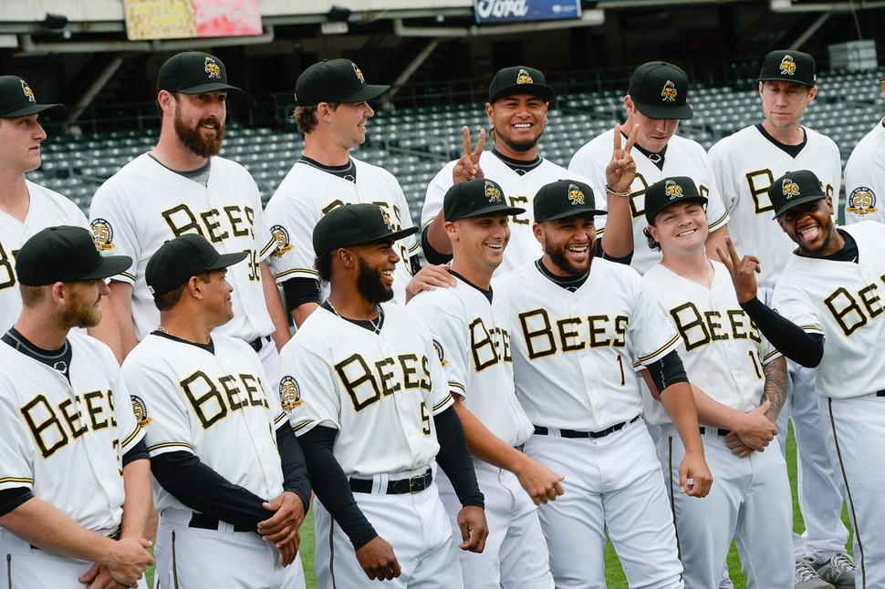 (Francisco Kjolseth | The Salt Lake Tribune) The Salt Lake Bees have a little fun as they gather for a group portrait for the start of their season during Media Day on Tuesday, April 2, 2019.