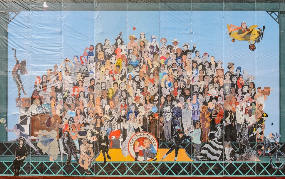 (Trent Nelson | The Salt Lake Tribune) The new Utah Women 2020 mural, featuring more than 200 Utah women from the past and present, was unveiled Wednesday, Aug. 26, 2020, on the Dinwoodey building in Salt Lake City.