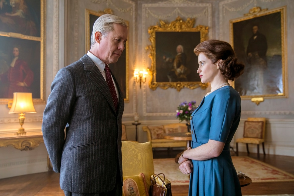(Photo courtesy of Robert Viglasky/Netflix) The Duke of Windsor (Alex Jennings) — the former King Edward VIII — discusses his future role with Queen Elizabeth (Clarie Foy).
