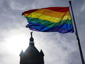 (Rick Egan | The Salt Lake Tribune) The Pride Flag flies over City Hall, on Tuesday, June 1, 2021.