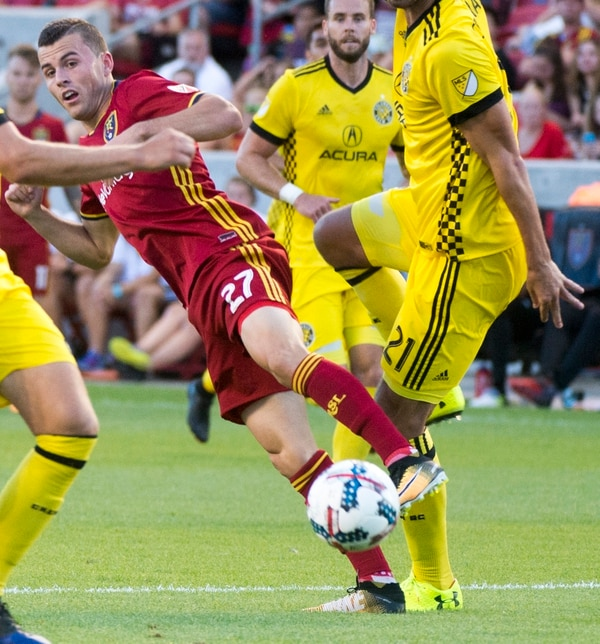 Rick Egan | The Salt Lake Tribune Real Salt Lake forward Brooks Lennon (27) is surrounded by Columbus Crew, as he tries to pass the ball, in MLS action, Real Salt Lake vs. Columbus Crew, Saturday, July 29, 2017.