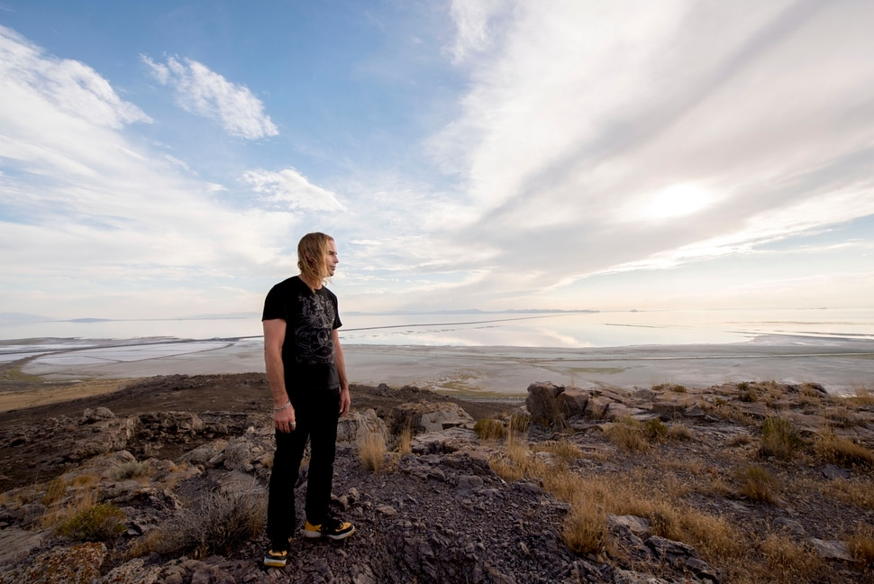 (photo courtesy Chris Federer) Gabriel Blackhelm looks towards the Spiral Jetty from the site of the Promontory Point Resources landfill site.